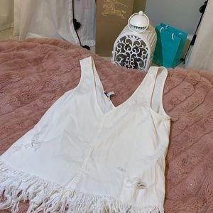 Destroyed white tank top